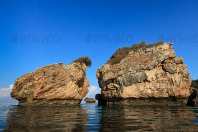 stones in water in Porto Zoro beach, Zakynthos, Greece