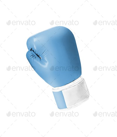 Blue boxing glove isolated on white background