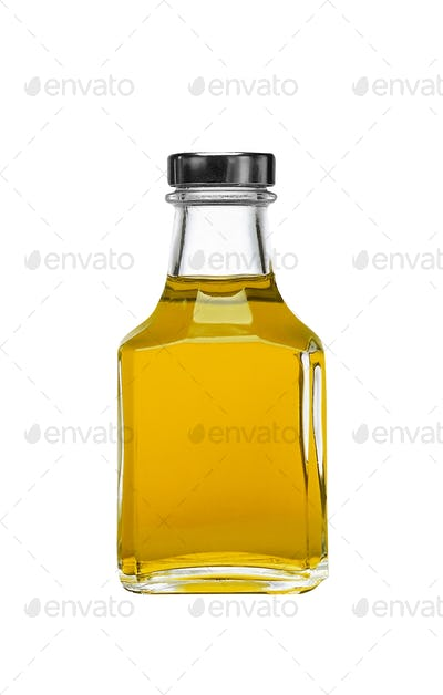 olive oil square bottle isolated on white background