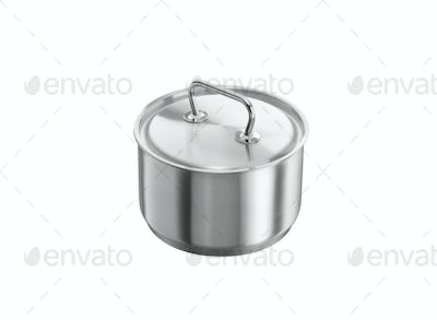 Stainless steel pot Isolated on white background