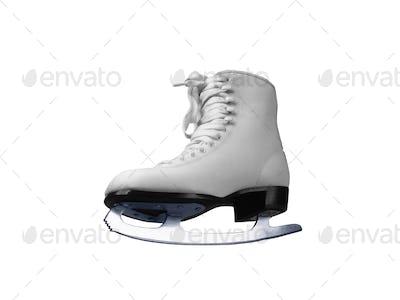 White skates for figure skating on ice