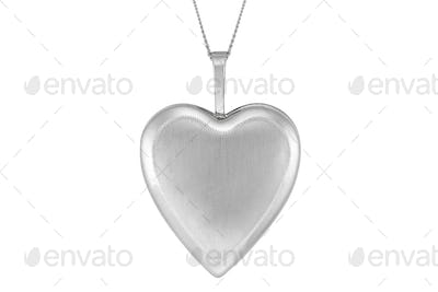 Silver pendant heart isolated on white background