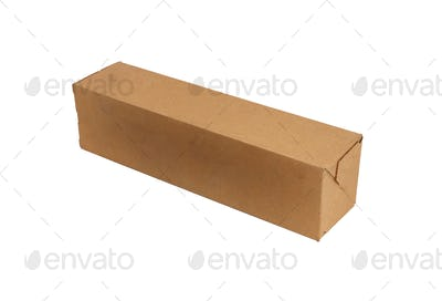 Long carton box isolated on white