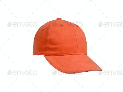 New Orange Baseball Cap isolated on white background