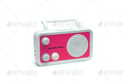 Pink Old fashioned radio isolated on white background