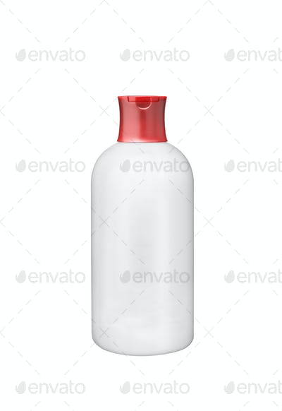 White plastic botle isolated on white background