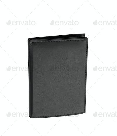 Black leather case on white background