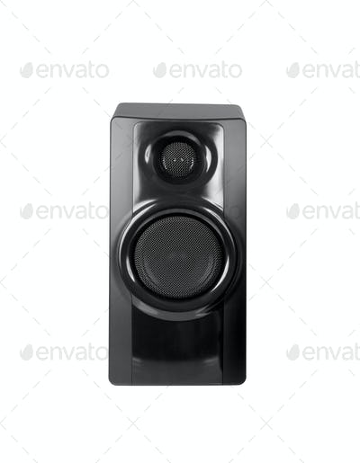 Black sound speaker on white background.