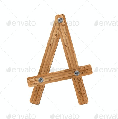 wooden alphabet - letter A on white background