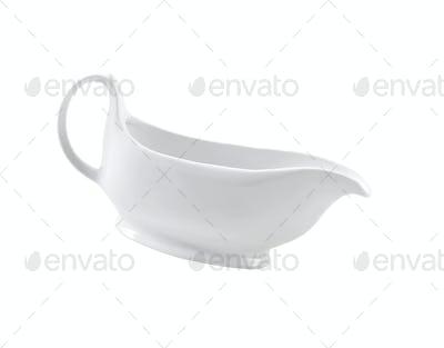 Ceramic cream jug isolated on white background