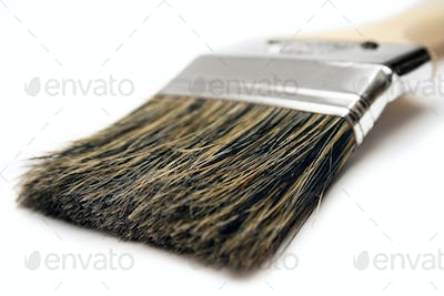 Paintbrush Close View Isolated on a White Background