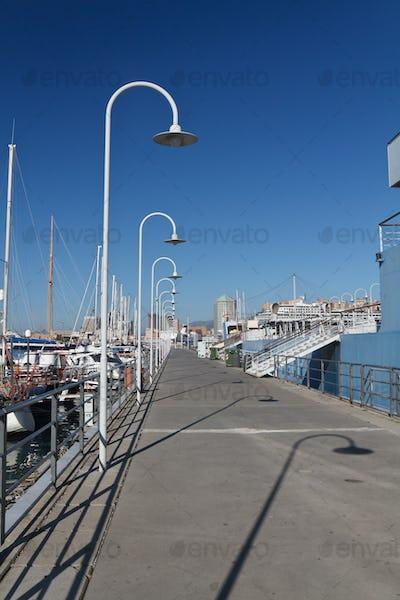 Genova harbour with promenade