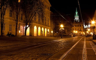 city center in Lviv at night