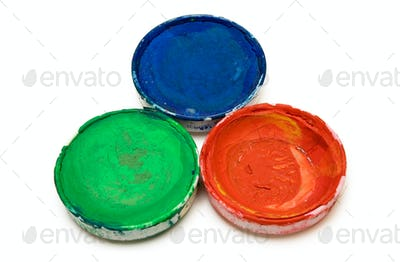 Three Watercolor Paints Isolated on a White Background