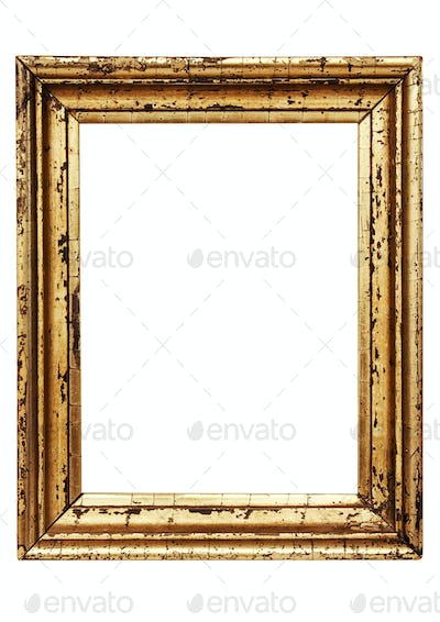 Weathered Golden Picture Frame with Clipping Path Isolated on a White Background