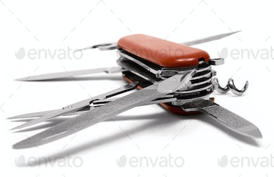 Red Multitool Penknife Isolated on a White Background