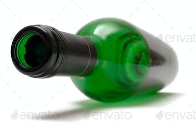 Empty Wine Bottle Isolated on a White Background