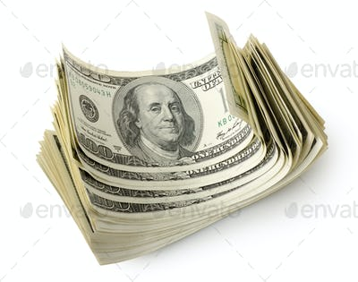 Bundle of dollars isolated