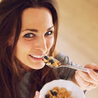 Attractive Woman with her Morning Snack