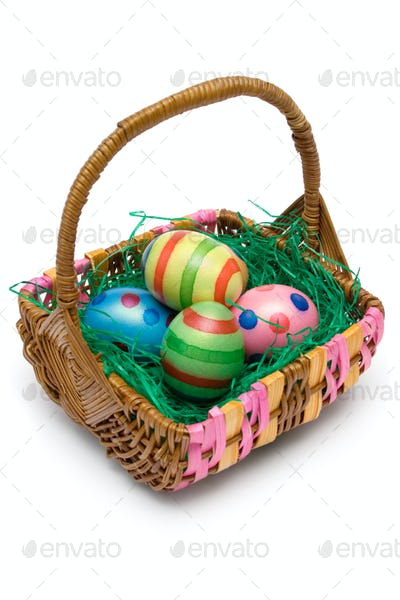 Easter Basket Isolated on a White Background