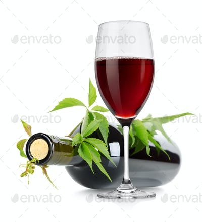 Wineglass and wine bottle