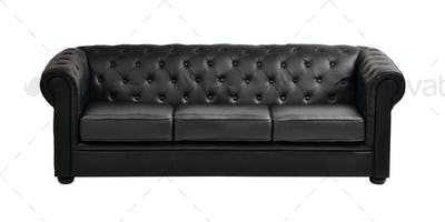 Black sofa isolated on white background
