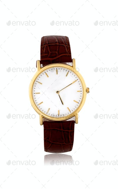 golden watches on white background