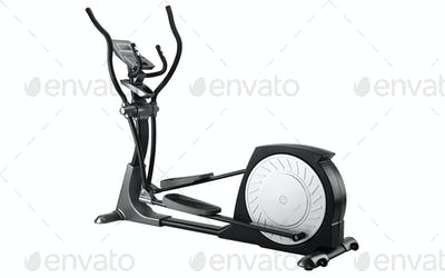 Elliptical gym machine over white background