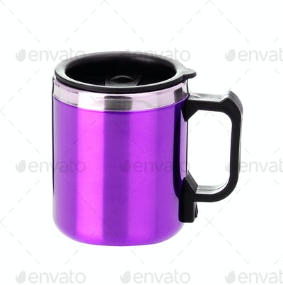 thermos mug with black handle