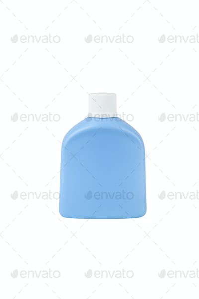 Blue cosmetic bottle isolated on white background