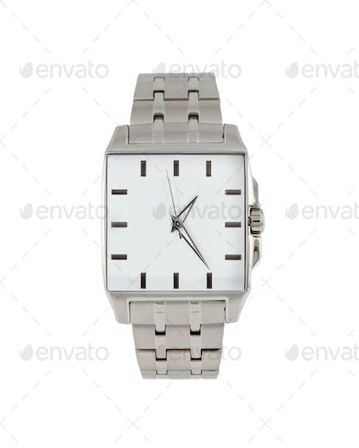 Men's classic steel wrist watch timer isolated
