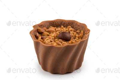Chocolate sweets isolated on a white background.