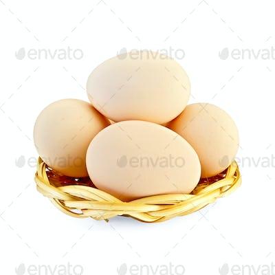 Eggs in a wicker plate