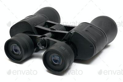Dark Binoculars Isolated on a White Background