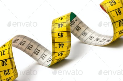 Measuring Tape Spiral Isolated on a White Background