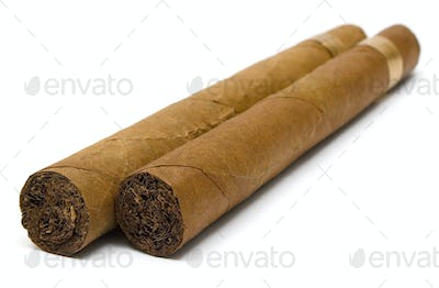 Two Cigars Isolated on a White Background