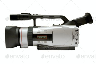 Digital Video Camera Side View with Clipping Path Isolated on a White Background