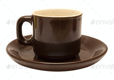 Brown Espresso Cup with Clipping Path Isolated on a White Background