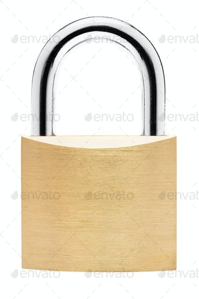 Simple Standing Padlock Isolated on a White Background