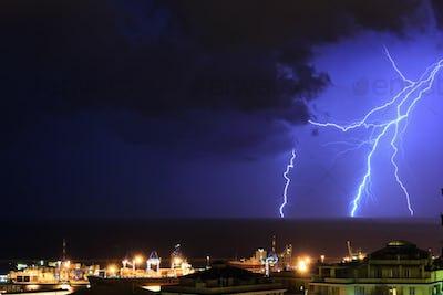 Lightning in Genoa, Italy