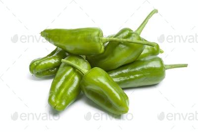 Heap of fresh green Pimientos de Padron