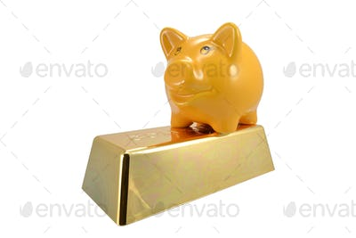Piggy Bank on Gold Bar