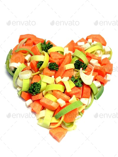 Fresh Vegetables Heart Shape