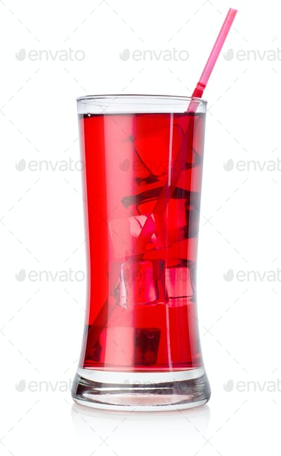 Red cocktail in a big glass isolated
