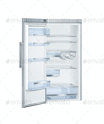 Refrigerator with open doors isolated