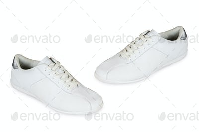 Sport shoes pair on a white