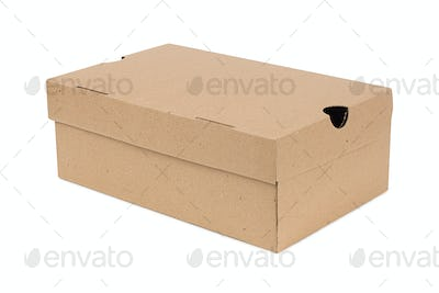 Closed shipping cardboard box isolated on white + Clipping Path