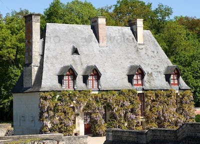 Typical old house with flowers. Loire Valley, France.
