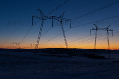 Daybreak above powerlines