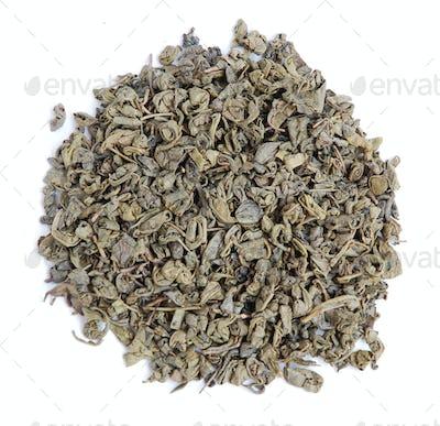 Aromatic green tea leaves